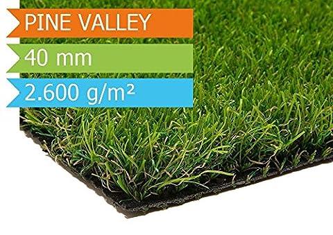 Kunstrasen Pine Valley | 0,20m x 0,15m | die hochwertigste Rollrasenoptik | Florhöhe ca 40mm | Gewicht 2.600g/m² | höchste UV-Sicherheit | Größe nach Wahl | mit Drainagefunktion und Wasserdurchlässig 60 Liter/Min/m² | der echte Kunststoffrasen | Rollrasen - (Teppich Für Balkon)