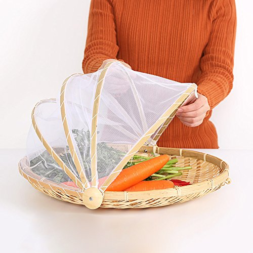 PROKTH Panier de pique-nique avec gaze Corbeille a fruit Tissé à la main Bug- Proof Panier à la poussière Soleil Panier à pain fait main pour égumes et fruits
