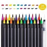 Juego de Pinceles de Acuarela con Punta Variable para Pintar, Dibujar rotuladores, cendoodle, caligrafía, Mangas, Juego de 20 Pinceles