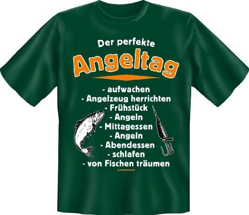 Geburtstag Party Fun T-Shirt fuer Angler geil bedruckt / Der perfekte Angeltag, gruen , S