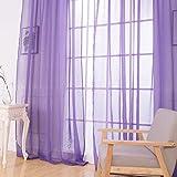 LCLrute 2 stücke gardinen Mode Fenster Vorhänge Einfarbig Fenster Behandlung Panels Tür Drapieren 100 cm x 200 cm (Lila)