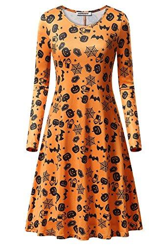 Coreal Damen Langarm T-Shirt Kleid Langarm Rundhals Casual Orange (Spinne Halloween Kostüm Muster)