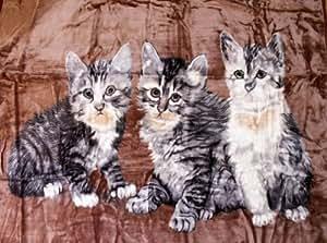 Natur-fell-shop plaid motif chats i 160 x 200 cm