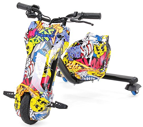 Actionbikes Motors Kinder Elektro DRIFTSCOOTER 360 Scooter Dreirad Drift Scooter 250 Watt (Grafit gelb)
