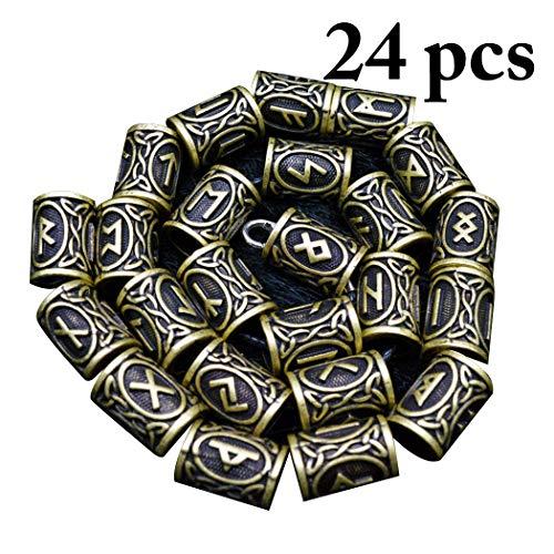 Wikinger Rune Bart Perlen 24 Teile/Satz Wikinger Norse Runes Haar Bart Perlen Antike DIY Armband Schmuck Skandinavischen Anhänger,Ancientbronze (Norse-anhänger)