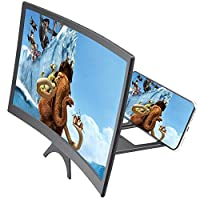 BluCos 12 Inch Screen Magnifier, 3D HD Phone Screen Magnifier Amplifier Enlarger, Curve Screen Amplifier Projector for Movies Videos and Game with Foldable Stand Compatible with All Smartphones