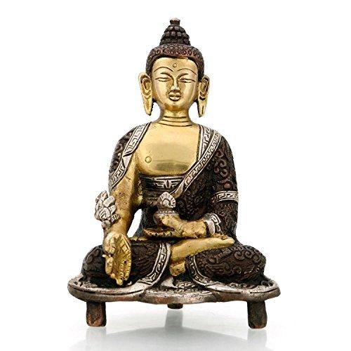 craftvatika 15,2cm Medizin Buddha Statue–tibetischen Buddhismus Messing Religiöse Decor meditierend Peace Harmony Statue-Yoga Statue