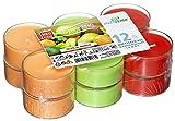 12 Maxi Duftteelichter, transparente Hülle, Duft: Tropical-Mango, Duftkerzen, Duftteelichte, Jumbo Teelichter, Maxilichte, Acryl Cup, Kunststoffhülle, 8 Stunden Brenndauer, Villa Verde