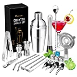 Cocktail Shaker Set, Baban 22Teilige Cocktail Shaker + Whisky Steine, Komplettes Kit, Sie müssen keine zusätzlichen Whisky Steine kaufen,Ideal für Familien, Feste, Bars