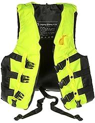 smartzyn (TM) profesional de deportes de agua de baño poliéster adulto chaleco salvavidas Chaleco Traje + silbato de supervivencia para natación pesca Rafting Drift, Green XL