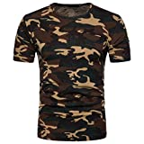 Herren T-Shirt Top, Dasongff 2018 Mode Herren Camouflage T-Shirt Drucken Blusen Rundhals Kurzarmshirt Slim Sportlich Hemd Casual Tarnung Pullover (2XL, Gelb)