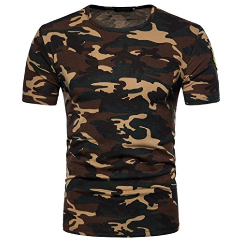 ❤️Tops Blouse Homme T-Shirt, Amlaiworld Hommes Occasionnels Impression Camouflage Tops Pull col O Blouse Chemisier T-Shirt (L, Jaune)