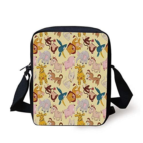 n Animals Jungle Themed Design Monkey Pig Tiger Elephant Lion Horse Sparrow Decorative,Multicolor Print Kids Crossbody Messenger Bag Purse ()