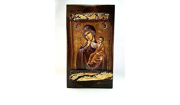 von Hand gefertigt MP3/_2 Holztafel Mutter Gottes am Berg Athos christlich-orthodox
