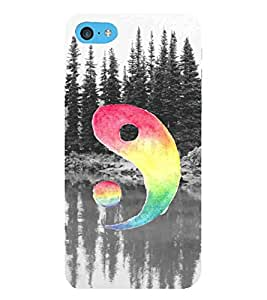 For Apple iPhone 5c tree, river, multi color circle Designer Printed High Quality Smooth Matte Protective Mobile Case Back Pouch Cover by APEX ELEGANT
