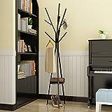 Stehender Huthänger Standing Coat Rack Hut Hanger Halter Haken für Jacke Umbrella Tree Stand mit Base Metal ( Farbe : Schwarz , größe : 45*180CM )