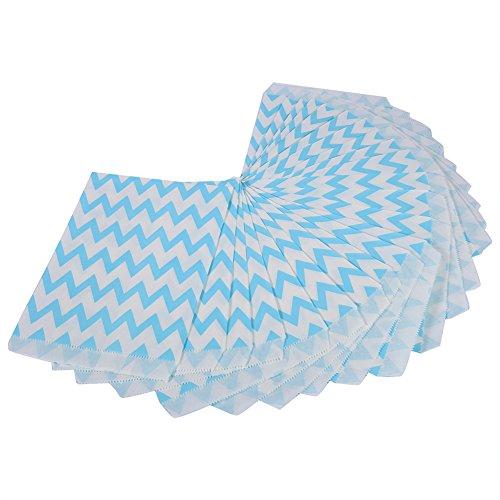 Candy Papiertüten, Süßigkeiten Tüten Papier Streifen Geschenktüten für Hochzeit, Geburtstag Party 25pcs (Blau)