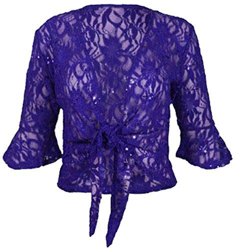nouvelles dames plus la taille ficeler 3/4 évasée manche haussement d'épaules dentelle sequin bolero top Royal Blue