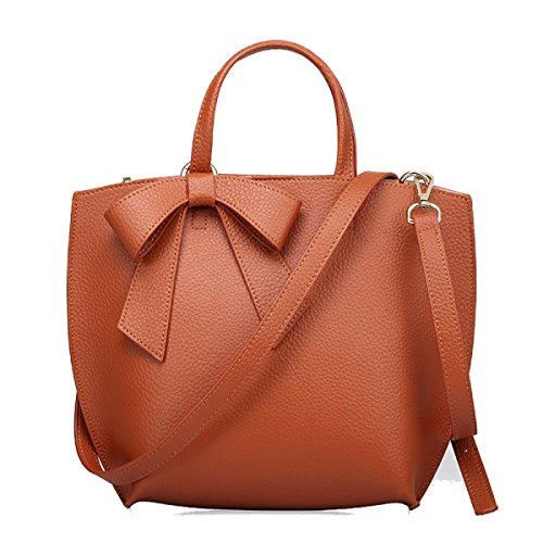 Borsa In Pelle Signora Bow Brown