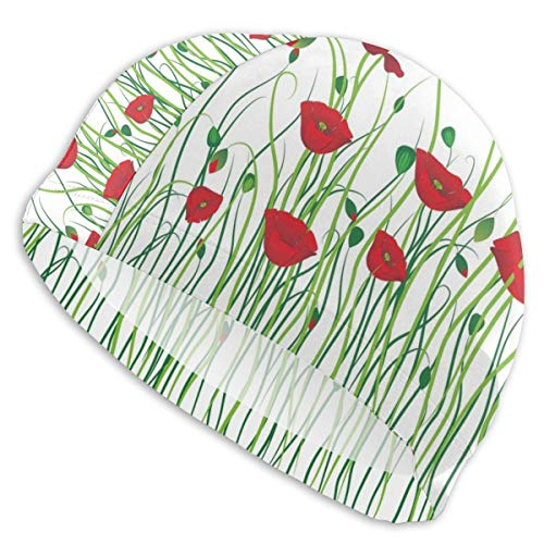 astic Swimming Hat Diving Caps,Scarlet Flowers and Buds On A Rural Field Refreshing Nature of Country Theme,for Men Women Youths ()
