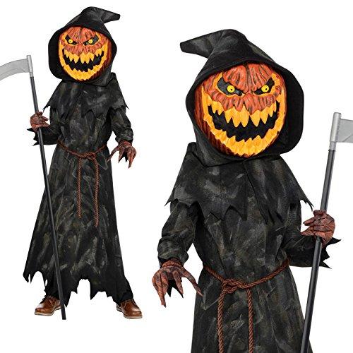 Jack Kind Lantern Kostüm O - Jack-O-Lantern jungen Halloween Kürbis Reaper Kids Kinder Kostüm (8-10 Jahre)