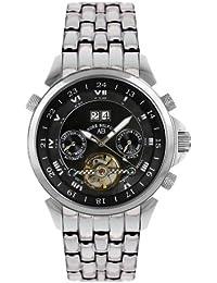 André Belfort 410014 - Reloj analógico de caballero automático con correa de acero inoxidable plateada - sumergible a 50 metros