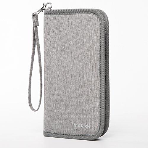 Inateck Ausweistaschen Reisebrieftasche Reisepass-Halter mit RFID-Abschirmung - Grau