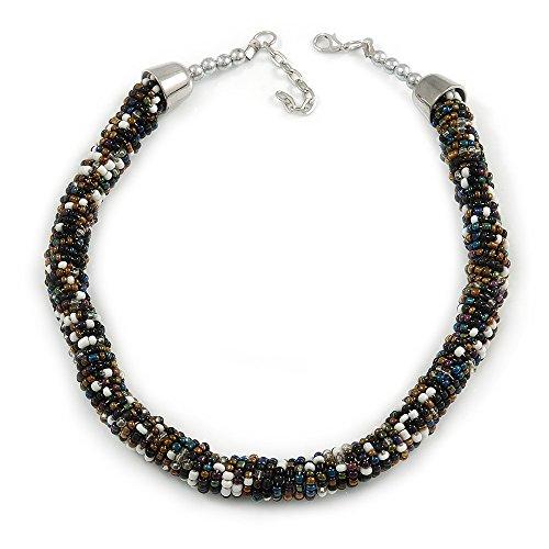Unbekannt Silberton Statement Chunky Schwarz/Weiß/Bronze/Peacock Glas Bead Halsband Stil Halskette-44cm L/5cm EXT