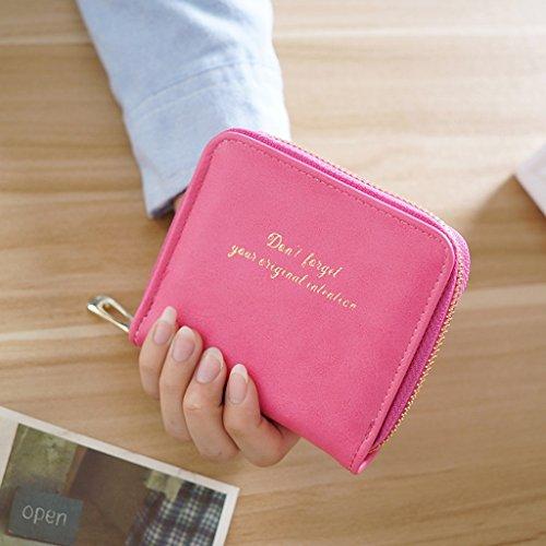 La signorina Bao Qian donna portafoglio breve paragrafo Portafoglio carta studenti pacchetto Mini Coin Purse Zipper Bag ( colore : Nero ) Red Rose