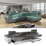 Moebel89 Moderne Couch Anton in grau/türkis mit Schlaffunktion, Farbe wie abgebildet, Ottomane rechts/Ecksofa, Eckcouch, Wohnlandschaft, Schlafsofa in BxTxH: 275 cm x 202 cm x 90 cm