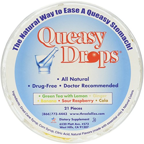 Three Lollies Queasy Drops Container, 21 CT