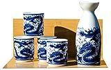 Drachen Sake-Set auf weißem - Japanisch 4 Tassen