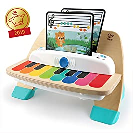 Baby Einstein Hape Magic Touch Piano, giocattolo musicale in legno, include 3 spartiti e 6 canzoni,