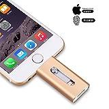 iPhone Memory Stick IOS Flash-Laufwerk, 3-in-1 Lightning OTG USB 3.0 verschlüsselter USB-Stick Externer Speicher für Apple IOS Android-Computer (32GB, Gold)