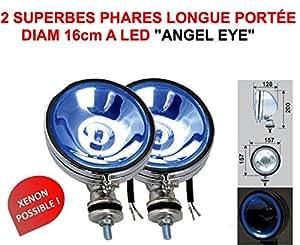 ANGEL EYE ! 2 SUPERBES PHARES 16CM LONGUES PORTEE AVEC CERCLAGE LED ! SERIE LIMITEE CHROMEE VERRE BLEU ! XENON POSSIBLE! RAID PREPARATION 4X4 HELLA OSCAR LIGHTFORCE CIBIE KCLITE