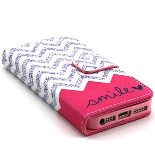 iPhone 5S Coque,PU Cuir Portefeuille Coque Flip Cover Case Pour iPhone 5/5S Etui Housse de Protection Étui Protecteur (Vagues souriantes) Vagues souriantes