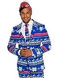 Opposuits Weihnachtsanzüge für Herren in Verschiedenen Drucken - besteht aus Sakko, Hose und Krawatte + Weihnachtsmüt
