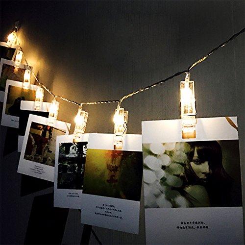 Comtervi LED Foto Clip Lichterkette,LED Foto Lichterkette 20 Foto-Clips 3 Meter Foto Lichterketten Batteriebetriebene Warmweiß Stimmungsbeleuchtung Dekoration für Hängendes