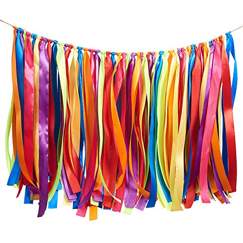 WANDIC Buntes Band Quaste Girlande Stoff Banner Hintergrund für Babyparty, Hochzeit, Geburtstag, Jahrestag, Abschlussfeier Party Dekoration Supplies