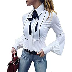 Moda Camicetta Donna Camicia da Lavoro A Maniche Lunghe Bottoni Bianchi di Base Cravatta A Farfalla Camicetta Top Bianco (L)
