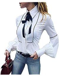 Moda Camicetta Donna Camicia da Lavoro A Maniche Lunghe Bottoni Bianchi di Base Cravatta A Farfalla Camicetta Top Bianco