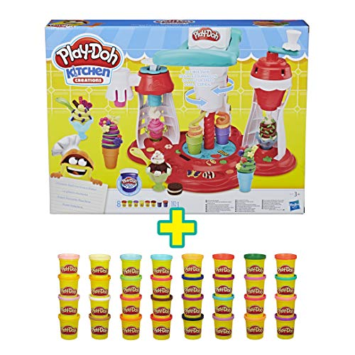 Play-Doh Heladería + Mega Pack Super Color, 36 Botes (Hasbro)