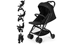 Baby Stroller with One Hand Fold Baby Carriage, Lightweight Joie Stroller,One Step Design for Opening and Folding,Height Adjustable Push Handle,from Birth to 25 kg, Six Wheel,Black