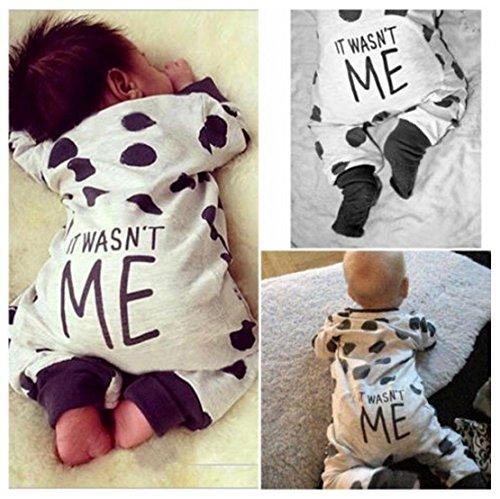 Malloom Bebé niño recién nacido chicos chicas puntos mameluco Enterizo Body ropa traje (90, blanco)