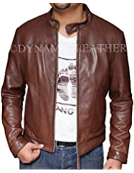 Hombre Nuevo Motero Hunt Marrón Motocicleta Marrón Real con una chaqueta de cuero–BNWT
