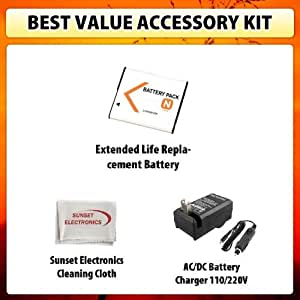Extended Life Replacement Battery Pack For Sony NP-BN1 1300MAH! Plus BC-CSN BCCSN Rapid 110/220V 1 Hour Home & Car Charger For The Sony Cyber-Shot DSC-TX5, DSC-TX7, DSC-TX9, DSC-T99, DSC-W330, DSC-WX5, DSC-W310, DSC-W350, DSC-W330 + SSE Cleaning Cloth