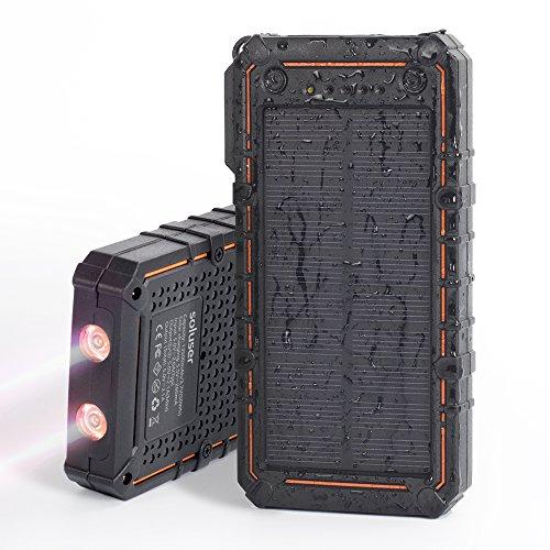 Cargador solar, soluser 13500mAh Premium de energía solar Banco dual usb pack...