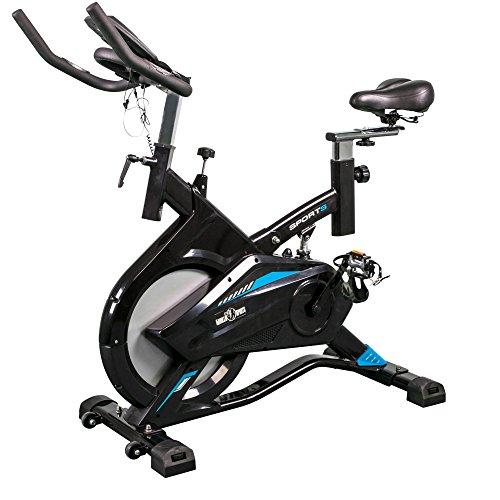 GORILLA SPORTS® Indoor Cycling Bike Profi mit Trainingscomputer und Riemenantrieb – Heimtrainer Fahrrad bis 100 kg belastbar