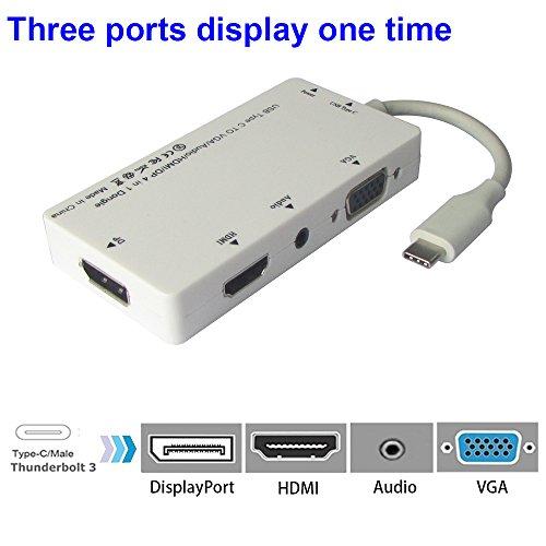 Taos Anzeigen (USB 3.1 Typ C 4 in 1 Dongle, USB C zu HDMI / DisplayPort / VGA / Audio Adapter für Apple Neues MacBook Pro, Google Chromebook Pixel und andere Geräte mit Typ C Port, weiß)