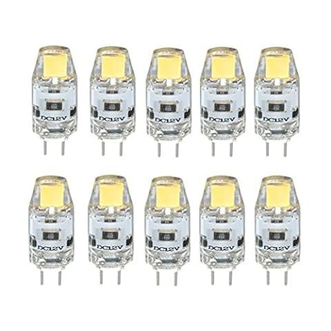 Haute qualité , WELSUN 10X G4 LED 1.5W 0705 COB SMD ampoule LED 12V ampoule à cristaux liquides remplacement de 20W lampe halogène Fit Maison et cuisine ( Couleur : Blanc Neige , Taille : DC12V )